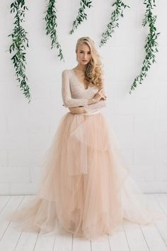 Wedding Dress , Blush Tulle Dress Two Piece Wedding Dress, Bridal Separates ,Long Sleeve Wedding Dress, Wedding Dress Tea Length, Wedding Dress Black, Two Piece Wedding Dress, Wedding Dress Chiffon, Long Sleeve Wedding, Ivory Wedding, Dress Piece, Ballet Wedding, Bridal Skirts
