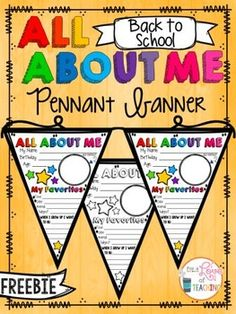 All About Me Pennant Banner (Back to School)This is fun back to school activity I made for my students to complete on the first day of school. The download includes 2 versions - color or black & whiteStudents fill in:namebirthdayage Their favorites:foodcoloranimalsubject, and what they want to be when they grow up.Students can also draw or paste a self-portrait.This pennant banner makes a cute bulletin board or classroom display!Thank you for visiting my store!FOLLOW ME to receive the lat...