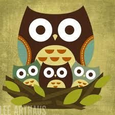 owl mama and her baby owlets