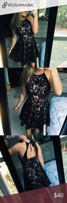 ⚡️SALE! -- Black Lacey Dress Beautiful black lace dress with a skin tone lining underneath. Has straps and a tie and zipper in the back. Size small. *NOT FREE PEOPLE-- listed for views* Free People Dresses Mini