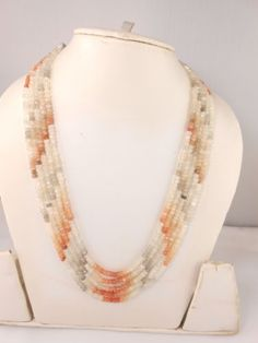 AAA-Multi-Moonstone-5-strand-necklace-Faceted-Rondelle-semi-stone-Beads-Necklace