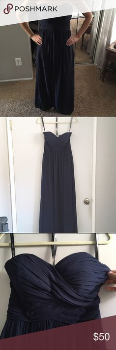 Bill Levkoff Bridesmaids Dress Bill Levkoff Bridesmaids Dress dark blue, says size 4 but I fit it an I am a 0. Also altered in height. I am 5'2 3/4 and I can wear 3 inch heels with this dress. Worn once. Bill Levkoff Dresses Wedding