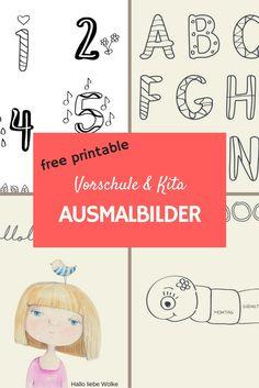 Free printable. Ausmalbilder und Malvorlagen für Kindergarten, Kita und Vorschule. Zahlen, ABC, Wochentage. Freebie & DIY!