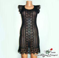 Black Crochet Dress handmade crochet summer by Crochetpatterns2