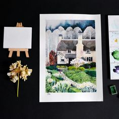 Maria Pavlova #watercolor #illustration #sketch #drawing #painting #handdrawn #handmade #print #art #landscape #spring #акварель #иллюстрация #графика #художник #скетч #принт #живопись #весна #сад #пейзаж #greetingcard #acuarela #picture #illustrator #graphic