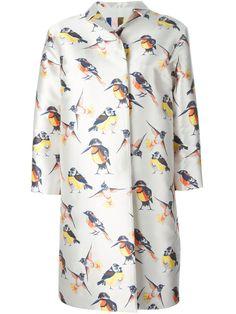 Shop MSGM bird print overcoat from Farfetch