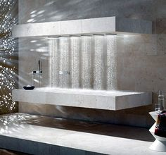 Now you can enjoy a pleasant and relaxing shower even when lying down. Sieger Design created this Horizontal Shower for Dornbracht, allowing for maximum Dream Bathrooms, Beautiful Bathrooms, Luxury Bathrooms, Timeless Bathroom, Deco Spa, Douche Design, Shower Cabin, Interior Minimalista, Luxury Shower