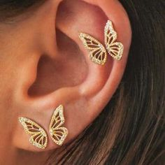 2020 New Gold Silver Rose Gold Color Rhinestone Butterfly Wing Stud Earrings For Women Butterfly Earrings, Wing Earrings, Small Earrings, Crystal Earrings, Clip On Earrings, Gold Stud Earrings, Funky Earrings, Prom Earrings, Dangly Earrings