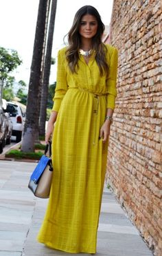 Long-sleeve maxi dresses are a fashionable and effortless style to bundle up in for a fall wedding. by marian Long Sleeve Maxi, Maxi Dress With Sleeves, The Dress, Dress Skirt, Dress Long, Yellow Maxi Dress, Bright Dress, Dress Black, Modest Fashion
