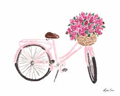 Pretty in pink, this cheerful bicycle art print will add a pop of color to any wall in your home! - Available in three sizes - Fine art giclee print. Bicycle Painting, Bicycle Art, Bicycle Design, Bicycle Sketch, Bicycle Drawing, Bicycle Tattoo, Wooden Bicycle, Retro Bicycle, Folding Bicycle