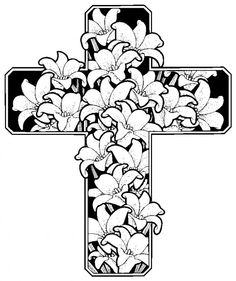 Easter Flowers With Cross Coloring Sheets