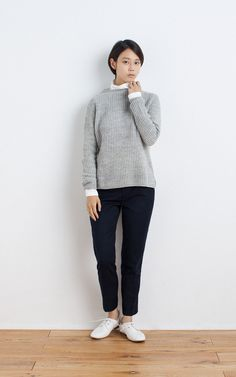 MUJI | WOOL MIDDLE GAUGE RIB KNITTED SWEATER | OGC STRETCH TURTLE T SHIRT (PLAIN) | WASHABLE WOOL STRETCH EASY ANKLE TROUSERS | LEATHER LACE-UP SHOES