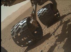 Curiosity's wheels after 636 days on Mars.