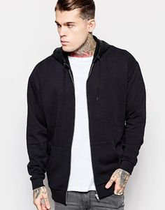 ASOS Oversized Zip Up Hoodie With Faux Leather Hood