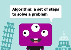 Kids programming definition card for algorithm. From Monster Coding, filled with fun coding, keyboarding, and math lessons for kids.
