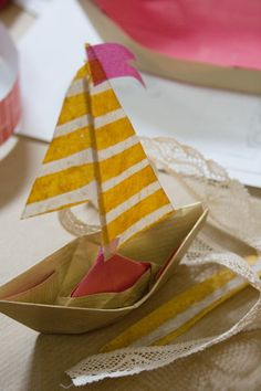 sailboat, stripes and paper