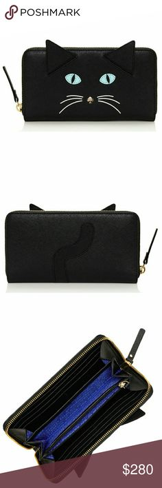 """♠😻Kate Spade RARE Cat's Meow Wallet & Gift Box😻♠ Eb@y $240!! Crosshatched Saffiano leather material with matching trim. Adorned with black pointy ears on front, light gold spade stud on nose, and squiggly tail on back Approximate Size: 8"""" L x 4"""" H. 14-karat light gold plated hardware. 3/4 all-around accordion-style. zippered closure with leather pull. Inside has 12 credit card slots and 2 full-length bill/currency slots on both ends. Center divider zipped pocket creates 3 additional…"""
