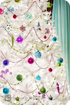Jewel toned white christmas tree