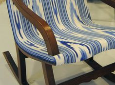 """GORG BLAU"" Majorcan fabric. Chevrons in both directions with narrow stripes. A style which is traditional anc classic in feeling."