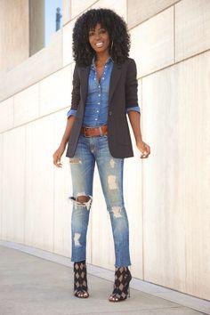 Boyfriend Blazer + Denim Shirt + Distressed Jeans