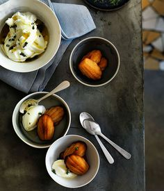 Goat's Yoghurt Sorbet with Warm Burnt Honey Madeleines / James Henry, Bones via Gourmet Traveller