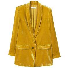 MANGO Velvet blazer ($150) ❤ liked on Polyvore featuring outerwear, jackets, blazers, mustard, velvet jacket, mustard blazer, velvet blazer, yellow blazer jacket and blazer jacket