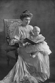 Queen Victoria Eugenia of Spain, nee Princess of Battenberg, and her eldest son, Alfonso, Prince of the Asturias
