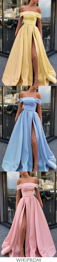 A Line Off the Shoulder Satin High Slit Yellow Prom Dresses Long Formal SWK10402, This dress could be custom made, there are no extra cost to do custom size and color
