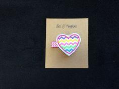 Spring Rainbow Chevron Heart Feltie Hair Clip