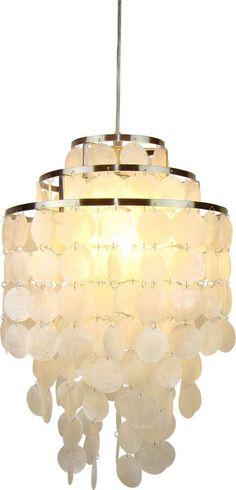 Schelpen hanglamp wit