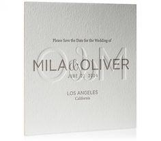 Letterpress Save-the-Date / Emboss / Brushed Copper Edges / Snake Print / Neutrals / Sophisticated / Modern / Elegant