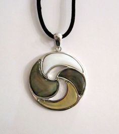 Silver Tone Muti Color Shell Pendant Necklace $25.00
