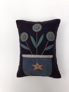 Wool Felt Penny Rug Flower Pillow Applique Pillow by FolkHome