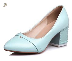 26bc2e7ea602 Sfnld Women s Elegant Pointed Toe Slip On Medium Block Heels Pumps Shoes  Blue 10.5 B(M) US - Sfnld pumps for women ( Amazon Partner-Link)