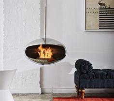 Hanging fireplace.