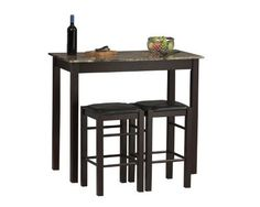 With the Linon 3 pc. Tavern dining set, you get a table and two stools that you can use for a variety of purposes. Use the table when you need a bit more counter space. Tuck away the stools underneath when they are not in use. Small Kitchen Tables, Kitchen Dining Sets, Counter Height Dining Sets, Counter Height Stools, Small Dining, Bar Stools, Kitchen Ideas, Kitchen Decor, Kitchen Carts