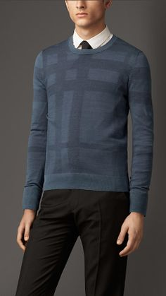 Pullover girocollo in seta check | Burberry