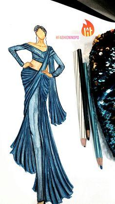 Dress Design Sketches, Fashion Sketches, Fashion Illustration Dresses, Fashion Illustrations, Pencil Sketches Easy, Cute Kawaii Drawings, Fashion Art, Designer Dresses, Art Drawings