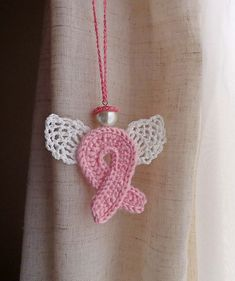 crocheted pink ribbons | Pink Ribbon Angel Guardian ....Love it!