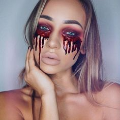 Crying tears of blood #Halloween inspo via @liza_lash
