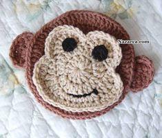 tillie tulip - a handmade mishmosh: Monkey business-monkey applique pattern Appliques Au Crochet, Crochet Motif, Crochet Flowers, Crochet Patterns, Knitting Patterns, Blanket Crochet, Crochet Crafts, Yarn Crafts, Crochet Toys