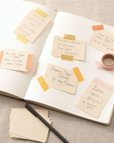 Handwritten notes taped into a guest book. Very sweet.
