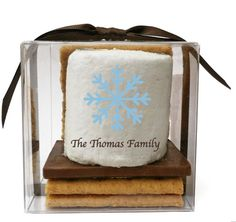 12 s'mores kit Christmas Holiday favors custom marshmallows theme edible gifts corporate holiday gift idea