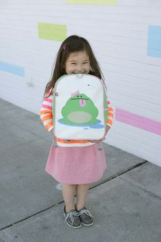 Click here for more: Katarina (Frog) Children's Backpack by Beatrix New York. Perfect for back to school, or as a gift for a Birthday or Christmas gift...Embroidered with our beloved forest creatures, these sturdy little packs hold everything a child needs for a busy day. Made from durable nylon and easy-to-clean laminated canvas. Large interior contains a smaller zipped pocket. Padded back panel and shoulder straps. For ages 2 to 5. PVC, lead, phthalate, & BPA free.
