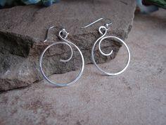 Sterling Silver Hoop Earrings Curly Q Hoop Earrings | Etsy