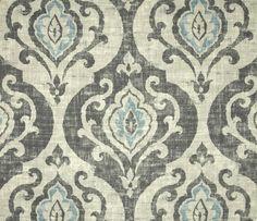 Slate and Spa Blue Medallion fabric
