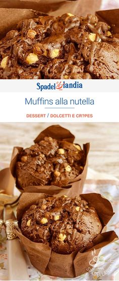 Muffins all Nutella, Nutella Light, Nutella Funny, Moroccan Desserts, Chocolate Lasagna, Good Food, Yummy Food, Candy Cakes, Cake & Co, Nutella Recipes
