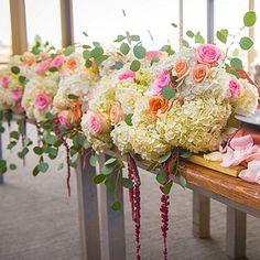 luxury wedding flowers, peach and blush flowers, vintage centerpieces - head table centerpiece - www.bellacalla.com - Bella Calla - Denver Vail Aspen Florist