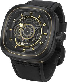 @sevenfriday  Watch P Series P2B-02 #add-content #bezel-fixed #bracelet-strap-leather #brand-sevenfriday #case-material-black-pvd #case-width-47-x-47-6mm #delivery-timescale-call-us #dial-colour-black #gender-mens #luxury #movement-automatic #new-product-