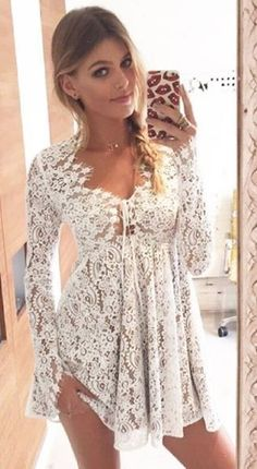 White Lace Little Charlie Mini Dress, | ForLoveAndLemons